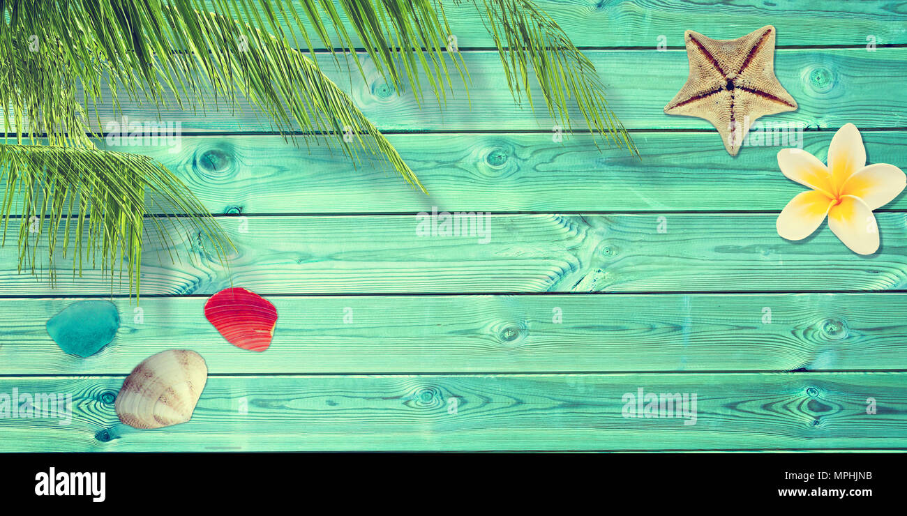 Beach and summer background with blue planks, palm tree branch and seashells - Stock Image