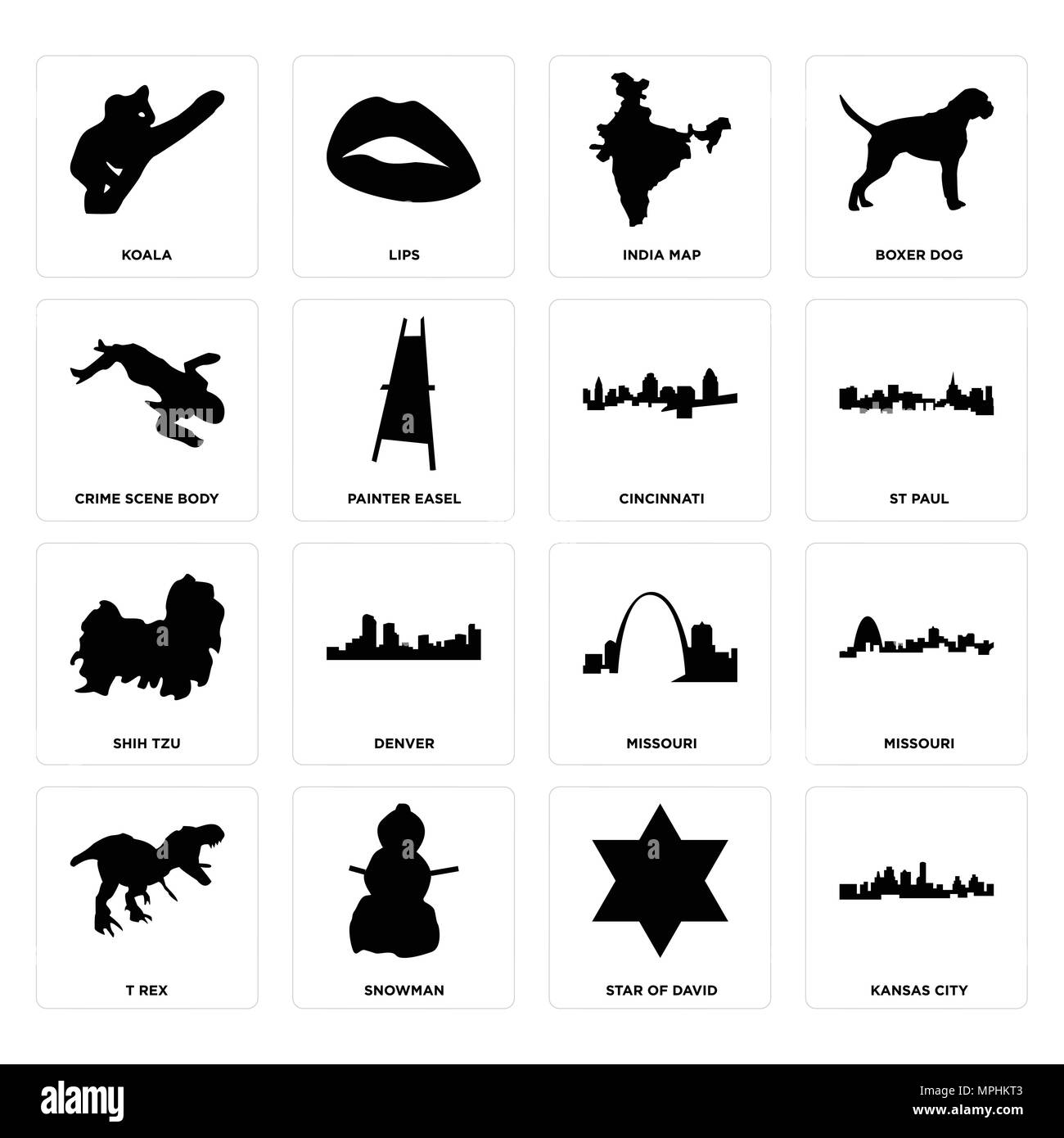 Set Of 16 simple editable icons such as kansas city, star of david
