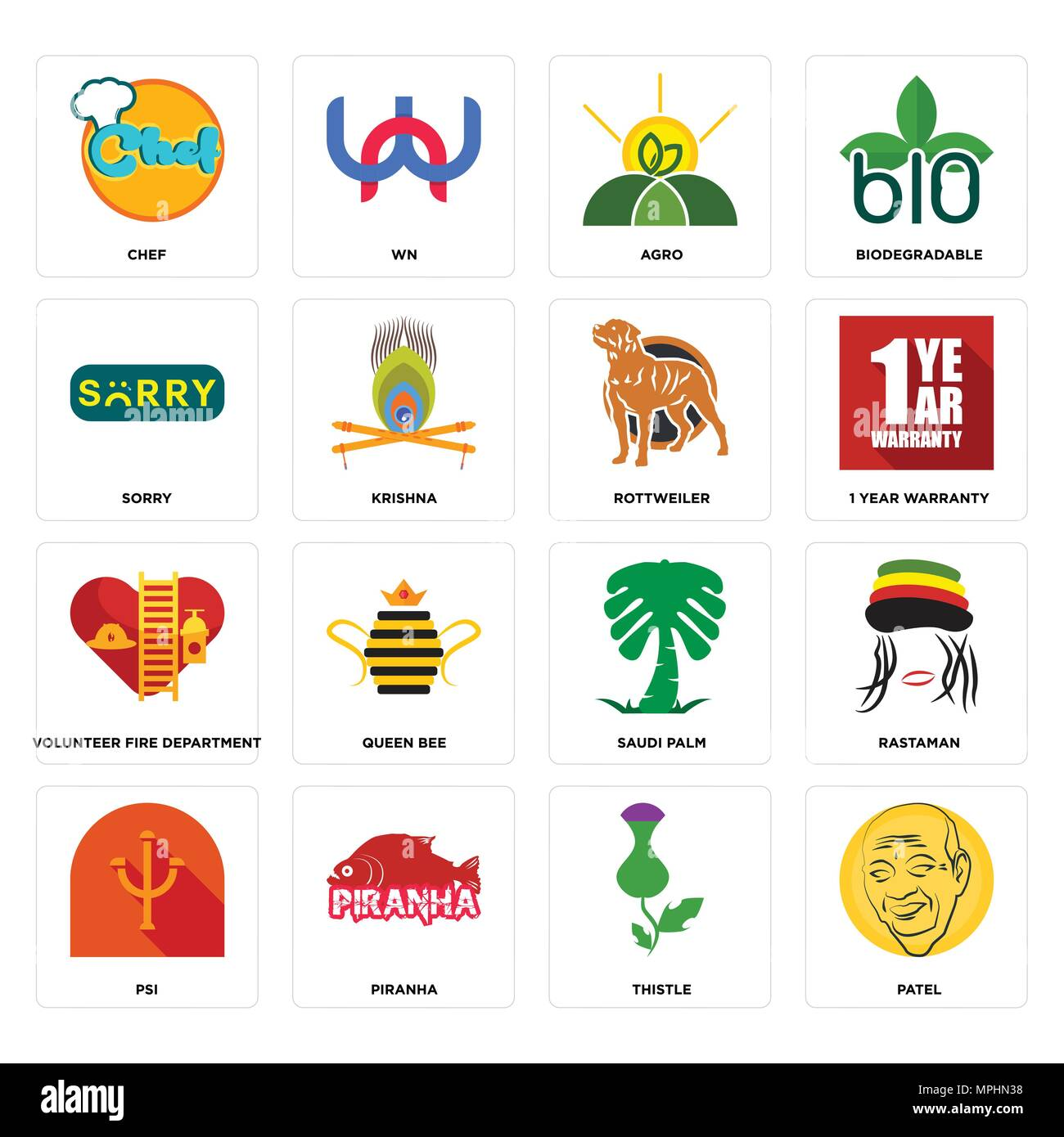 Set Of 16 simple editable icons such as patel, thistle, piranha, psi, rastaman, chef, sorry, volunteer fire department, rottweiler can be used for mob - Stock Vector