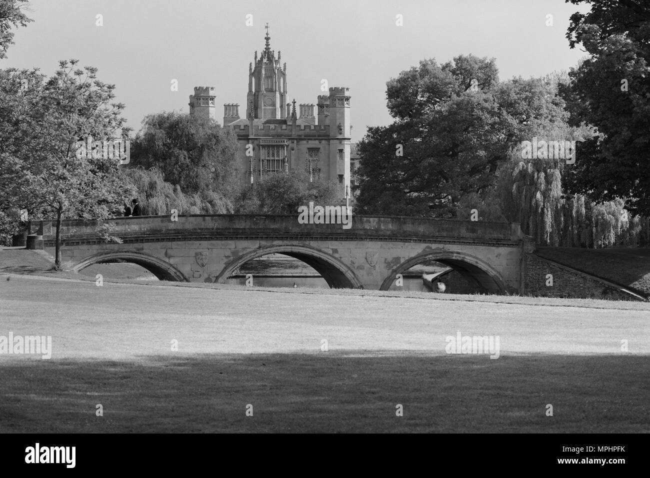 Trinity Bridge and St John's College Cambridge - Stock Image