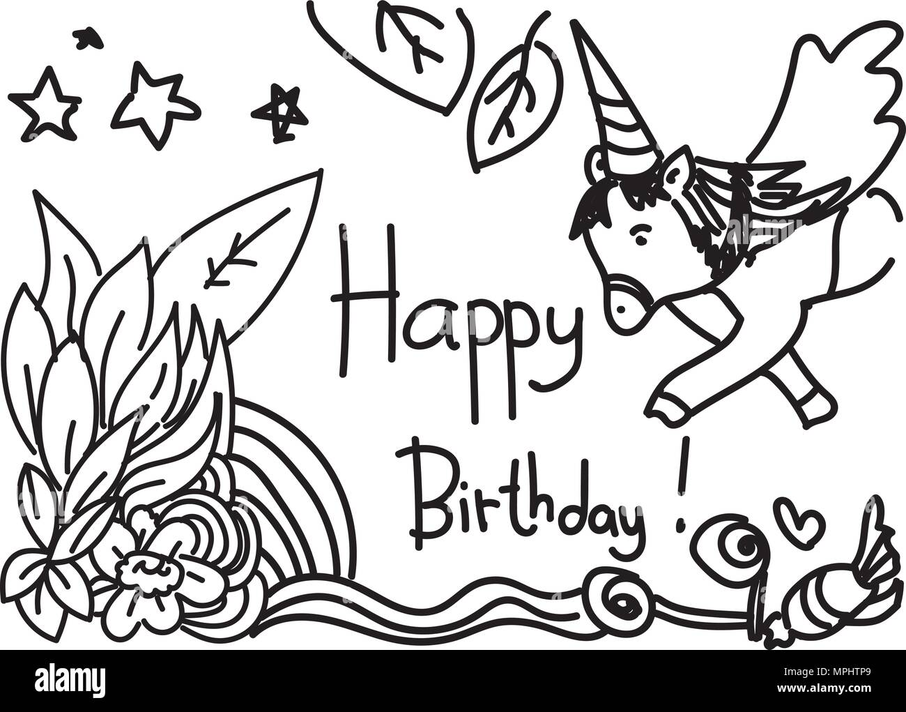 Happy Birthday Card Design With Unicorn And Leaves In Handdrawn