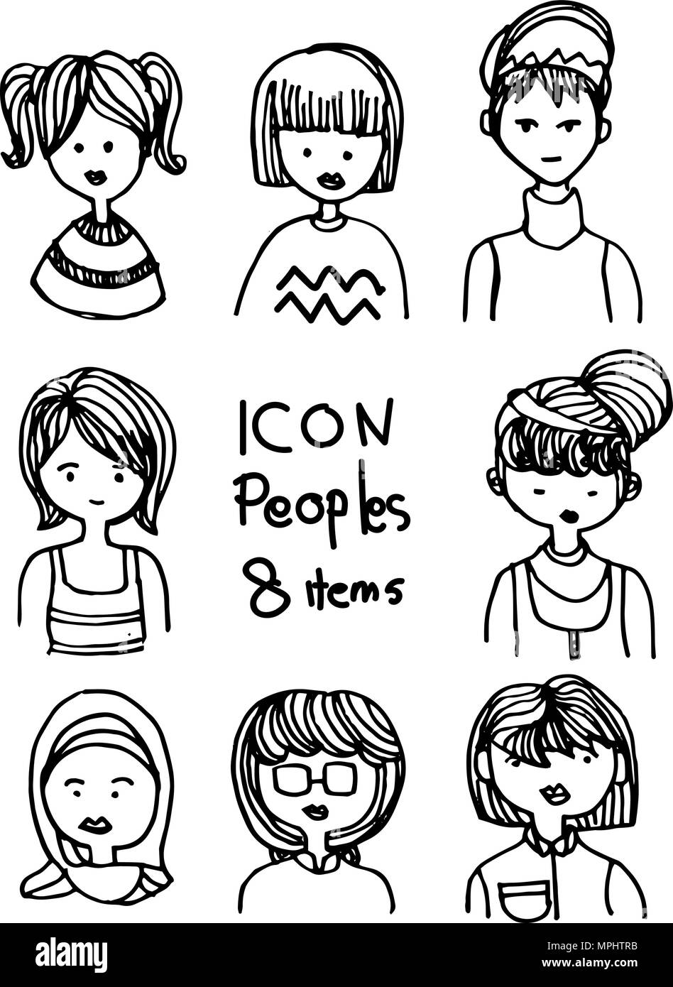 Avatar of peoples in drawing doodle style