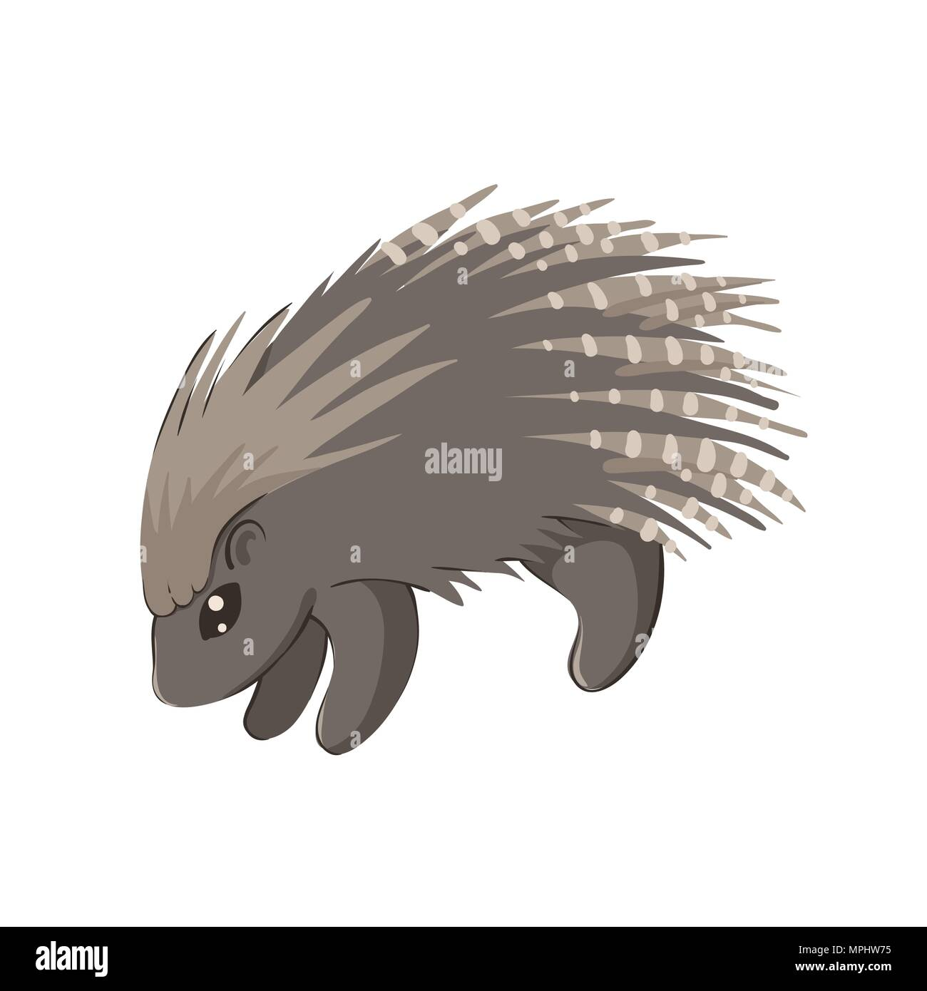 Vector illustration of cute baby porcupine isolated on white - Stock Vector
