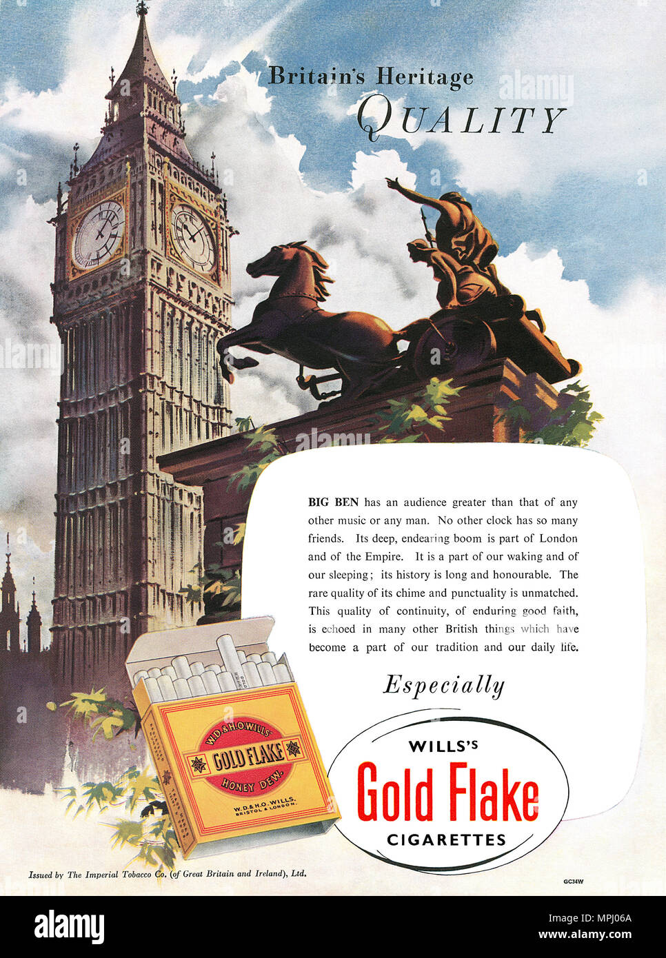 1951 British advertisement for Will's Gold Flake cigarettes. - Stock Image