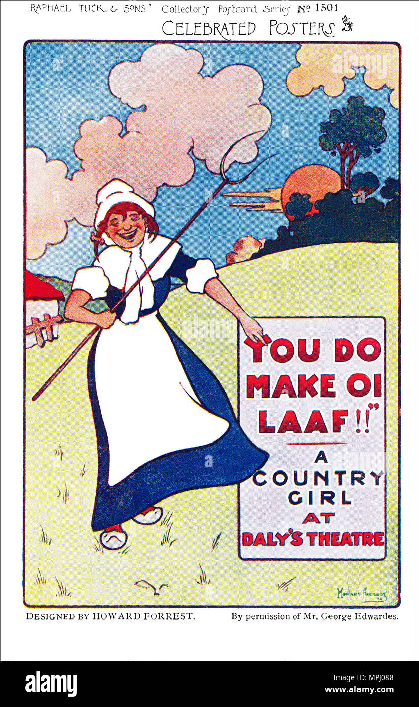 Vintage advertising postcard of a poster by Howard Forrest for the musical A Country Girl. Written by James T. Tanner, Adrian Ross and Percy Greenbank. First performed at Daly's Theatre, London, in 1902. - Stock Image