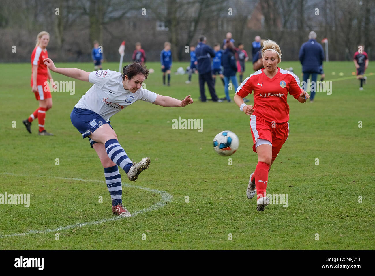 Female soccer in the North West Women's Regional League as Preston North End Ladies take on Penrith Ladies - Stock Image