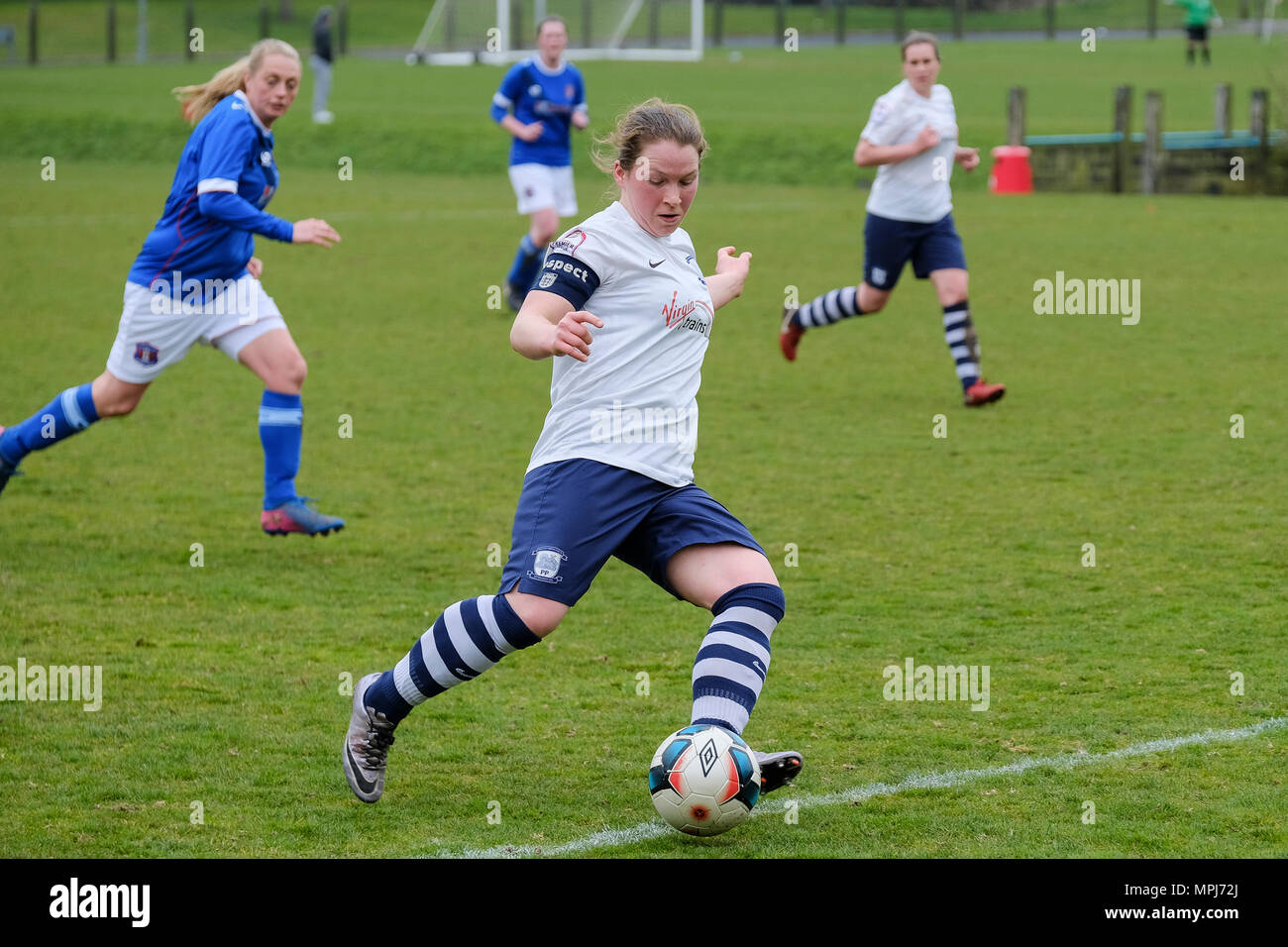 Female soccer in the North West Women's Regional League as Preston North End Ladies take on Carlise - Stock Image
