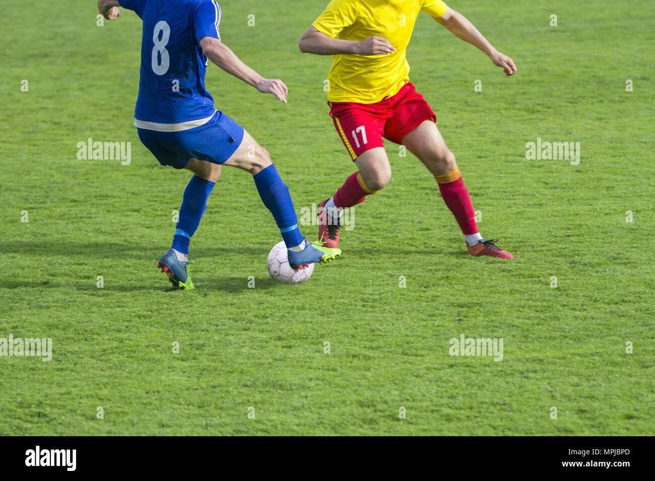 Football Soccer game Duel Drill Dribbling - Stock Image