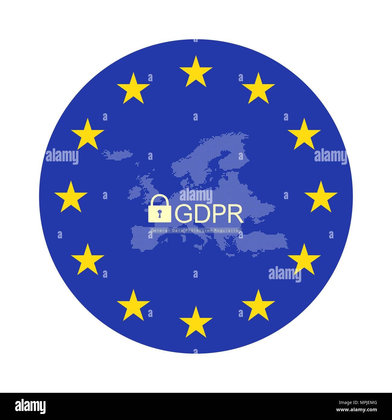 General Data Protection Regulation, GDPR. European GDPR concept flyer template. Vector illustration - Stock Image