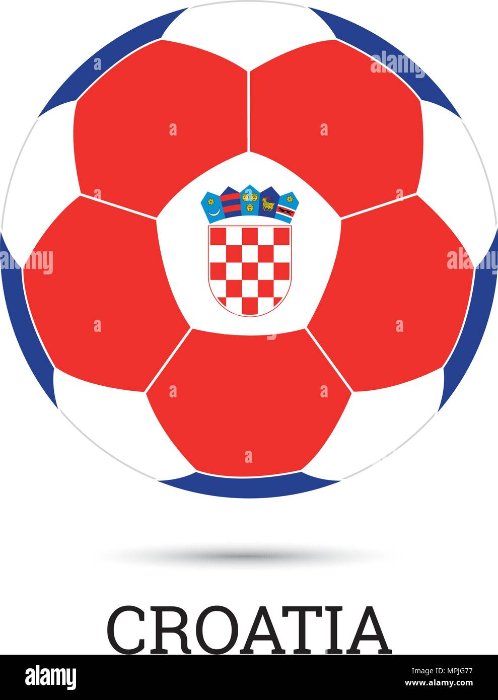 Soccer ball with Croatian national colors and emblem vector illustration 657c7d047