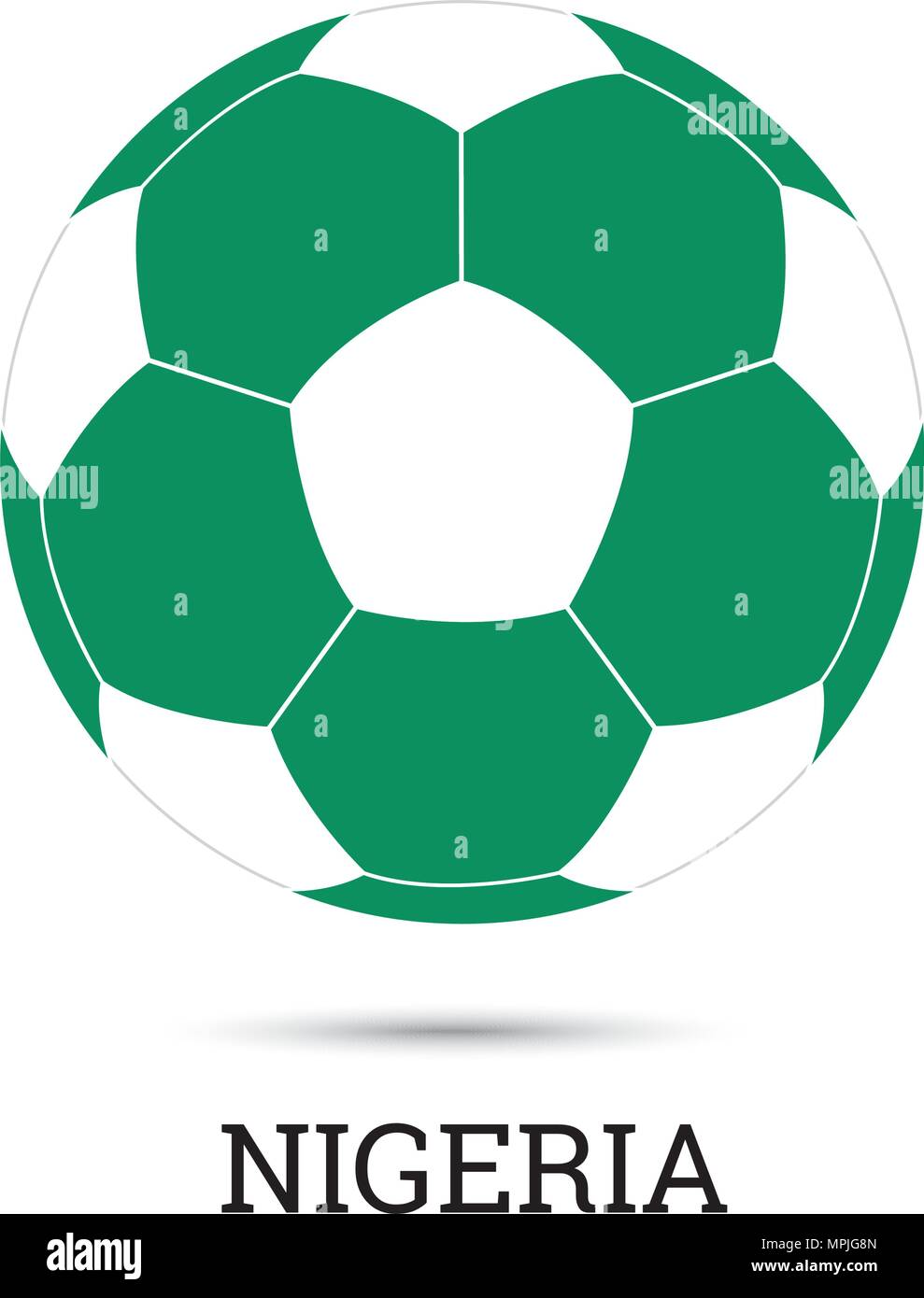 Soccer ball with Nigerian national colors  vector illustration - Stock Vector