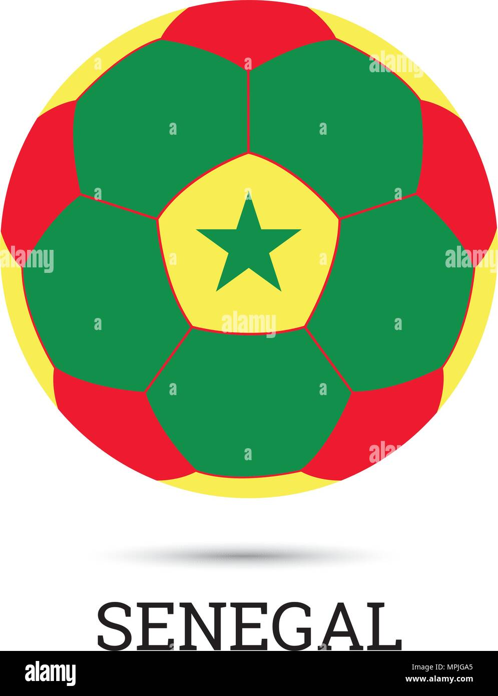 ff18129a9c1 Soccer ball with Senegalese national colors vector illustration - Stock  Image