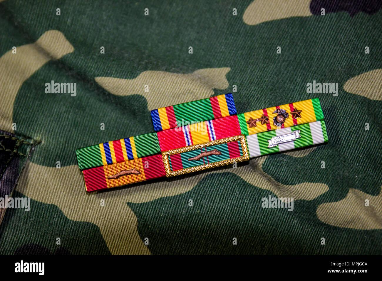 Vietnam Veteran Ribbons On Camouflage Uniform - Stock Image