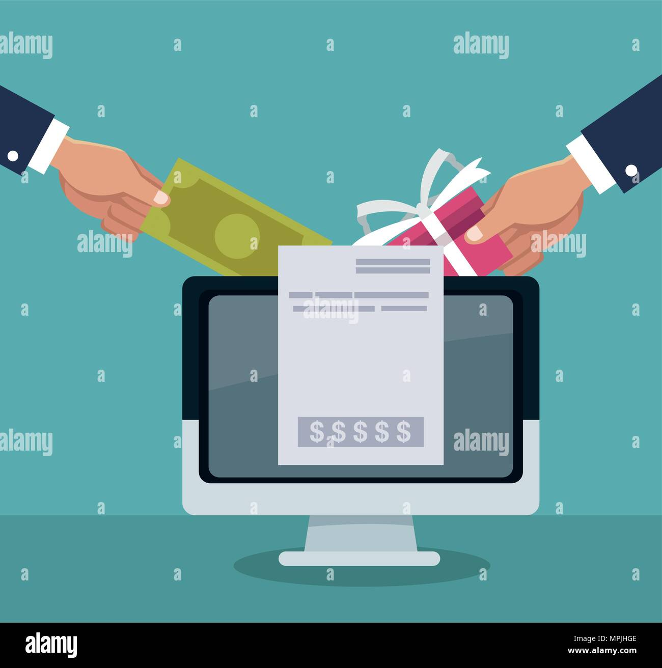 Hand shopping online - Stock Image