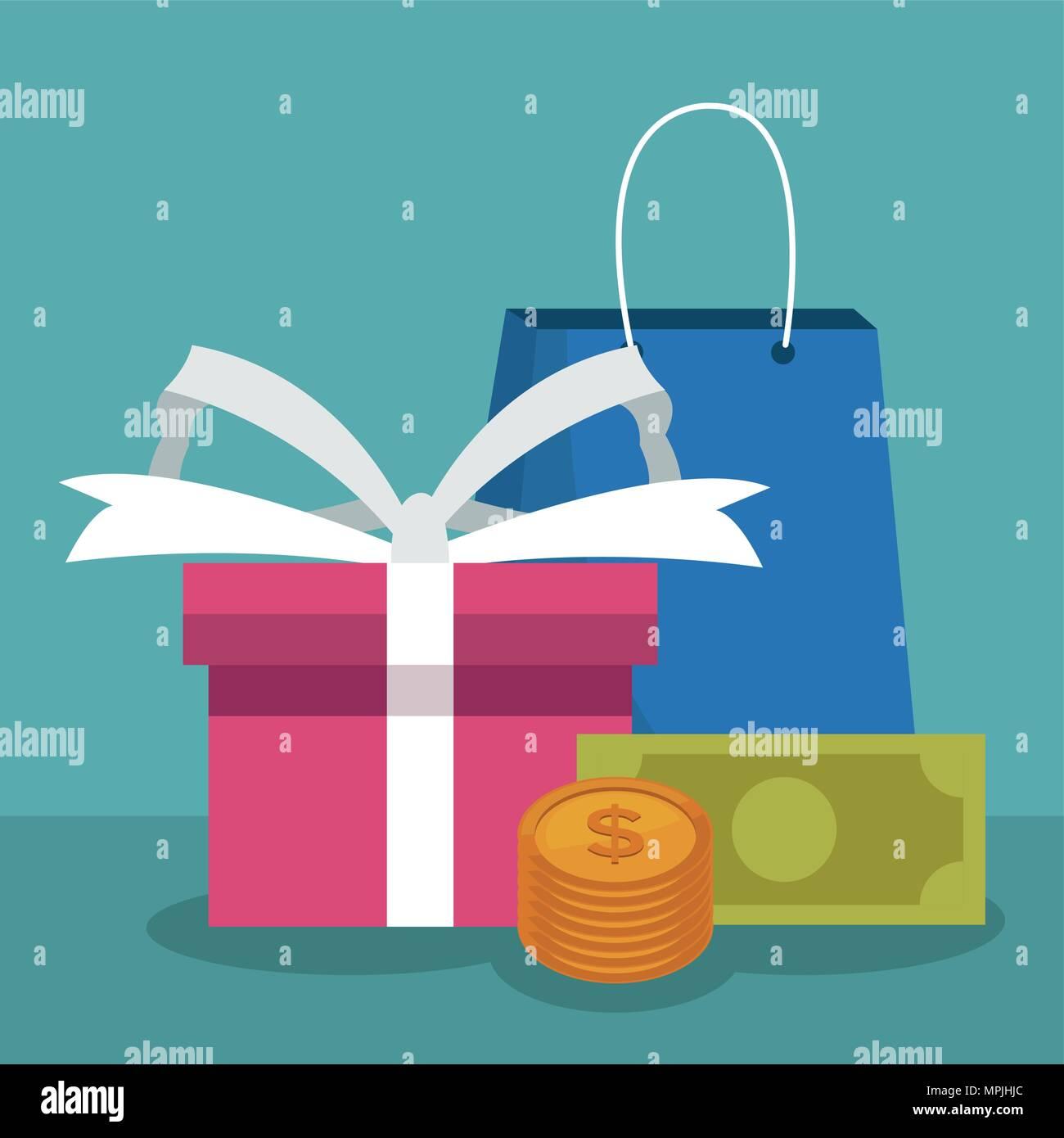 Shopping bag and gift box - Stock Image