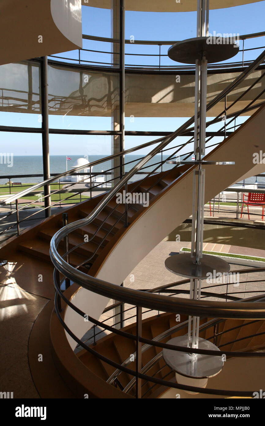 The De La Warr Pavillion, interior of the Art Deco Gallery and Arts Centre, building constructed in 1935 and designed by the architects Erich Mendelsohn and Serge Chermayeff. Bexhill on Sea, East Sussex.14 August 2008 --- Image by © Paul Cunningham - Stock Image