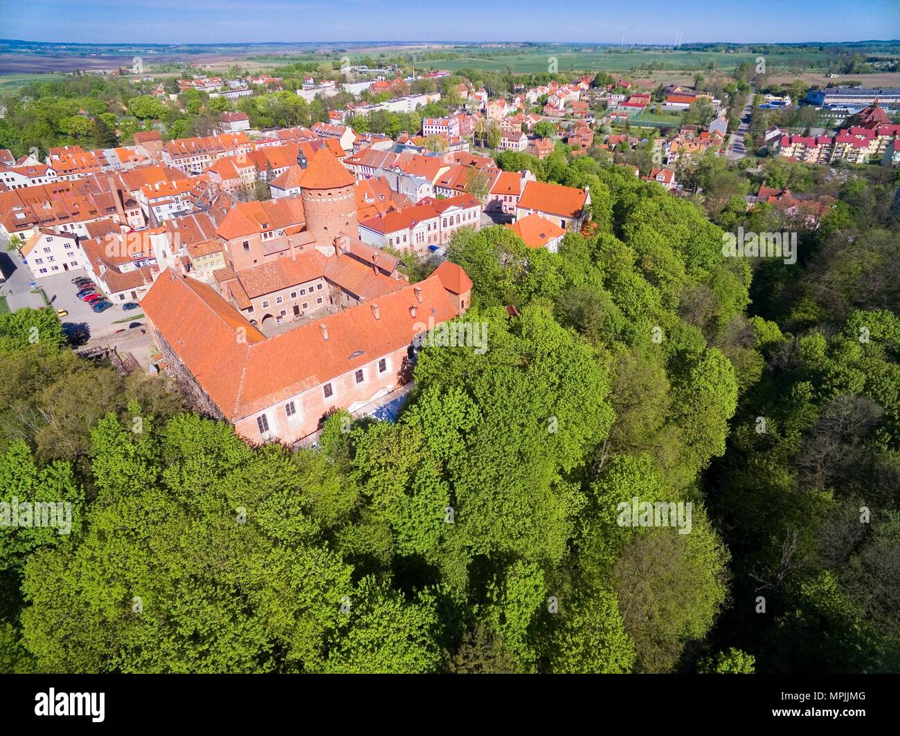 Aerial view of medieval Reszel town - small town of Warmia region, with a long history, many historical monuments and various tourist attractions, Pol Stock Photo