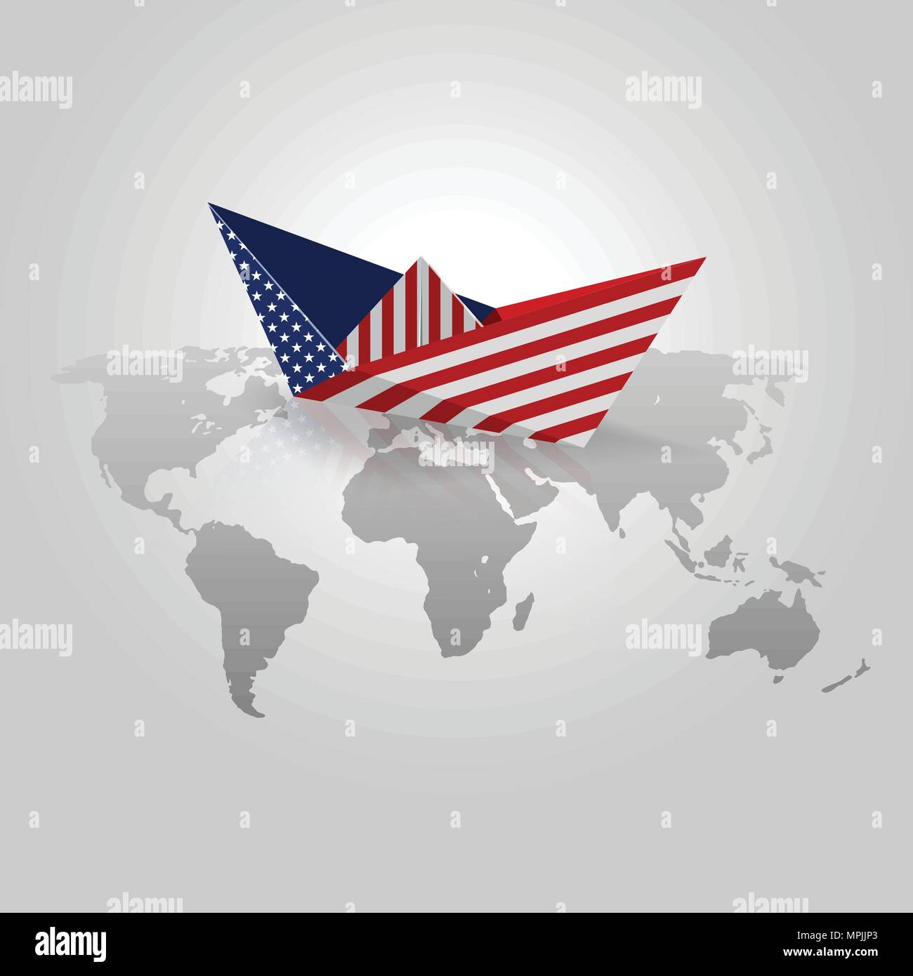 Paper boat with united states flag origami paper with usa flag over paper boat with united states flag origami paper with usa flag over world map vectors gumiabroncs Gallery