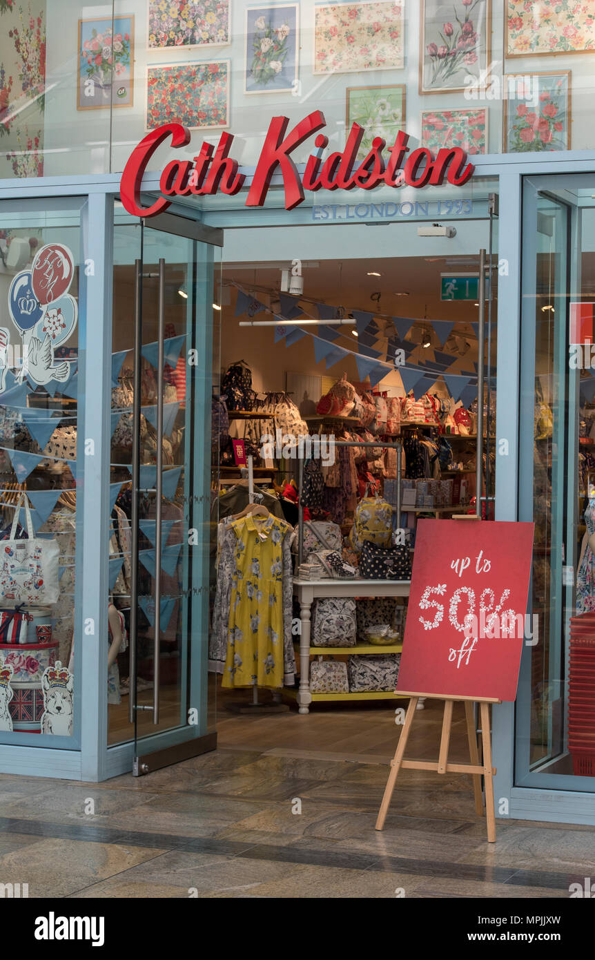 Cath Kidston shop in a retail outlet high street location. Ladies fashion and designer accessories shop and chain store on the high street. - Stock Image