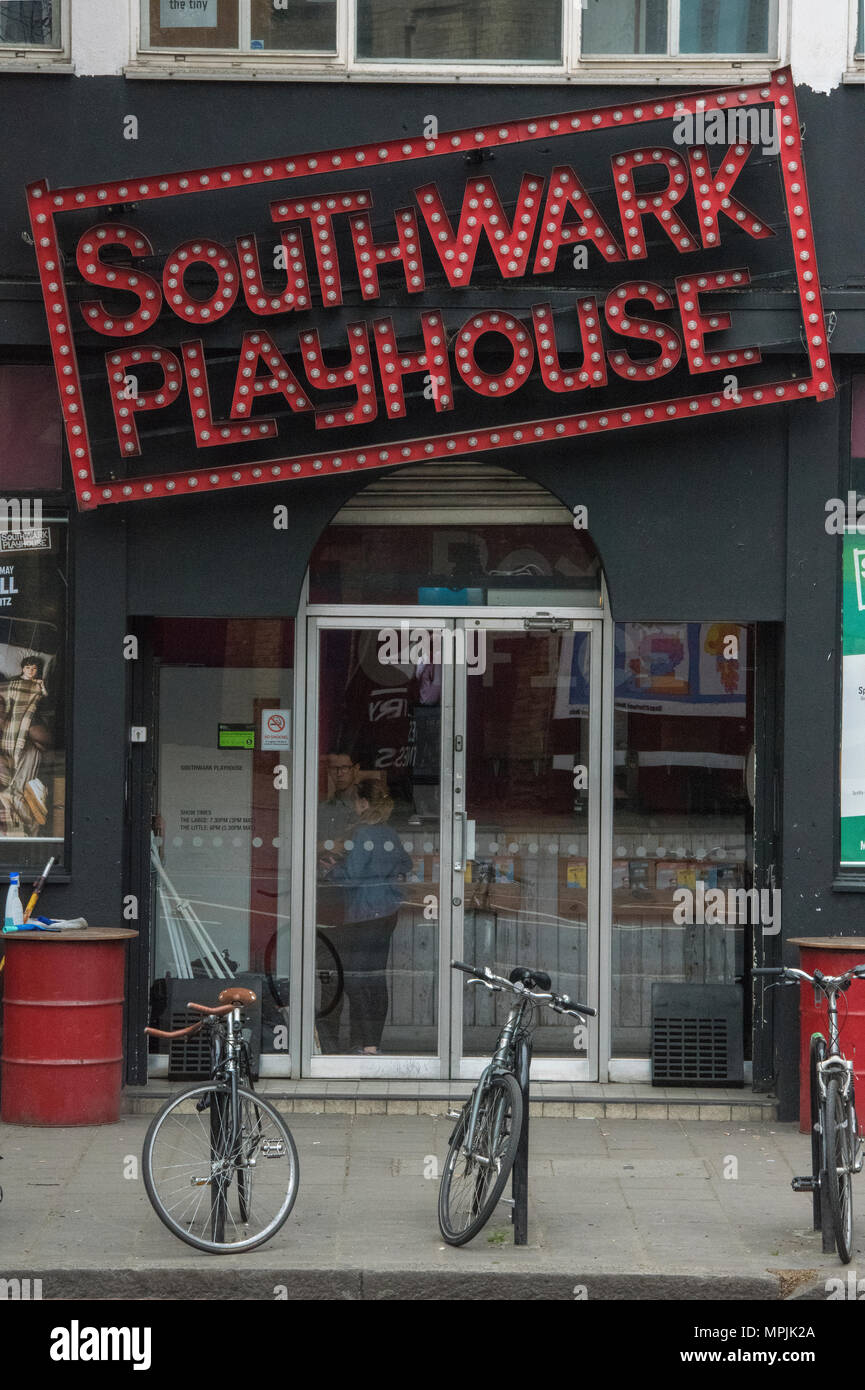 The front entrance to the southwark playhouse in central London. Theatres and venues in the capital city of london. Acting and play drama venues city. - Stock Image