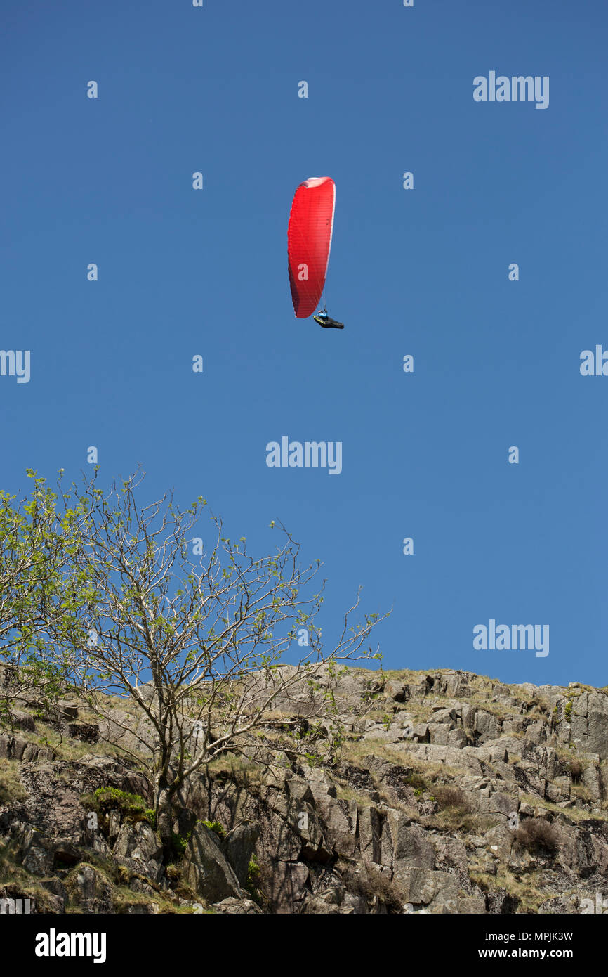 Paraglider in the vicinity of Wrynose Pass in the Lake District - Stock Image