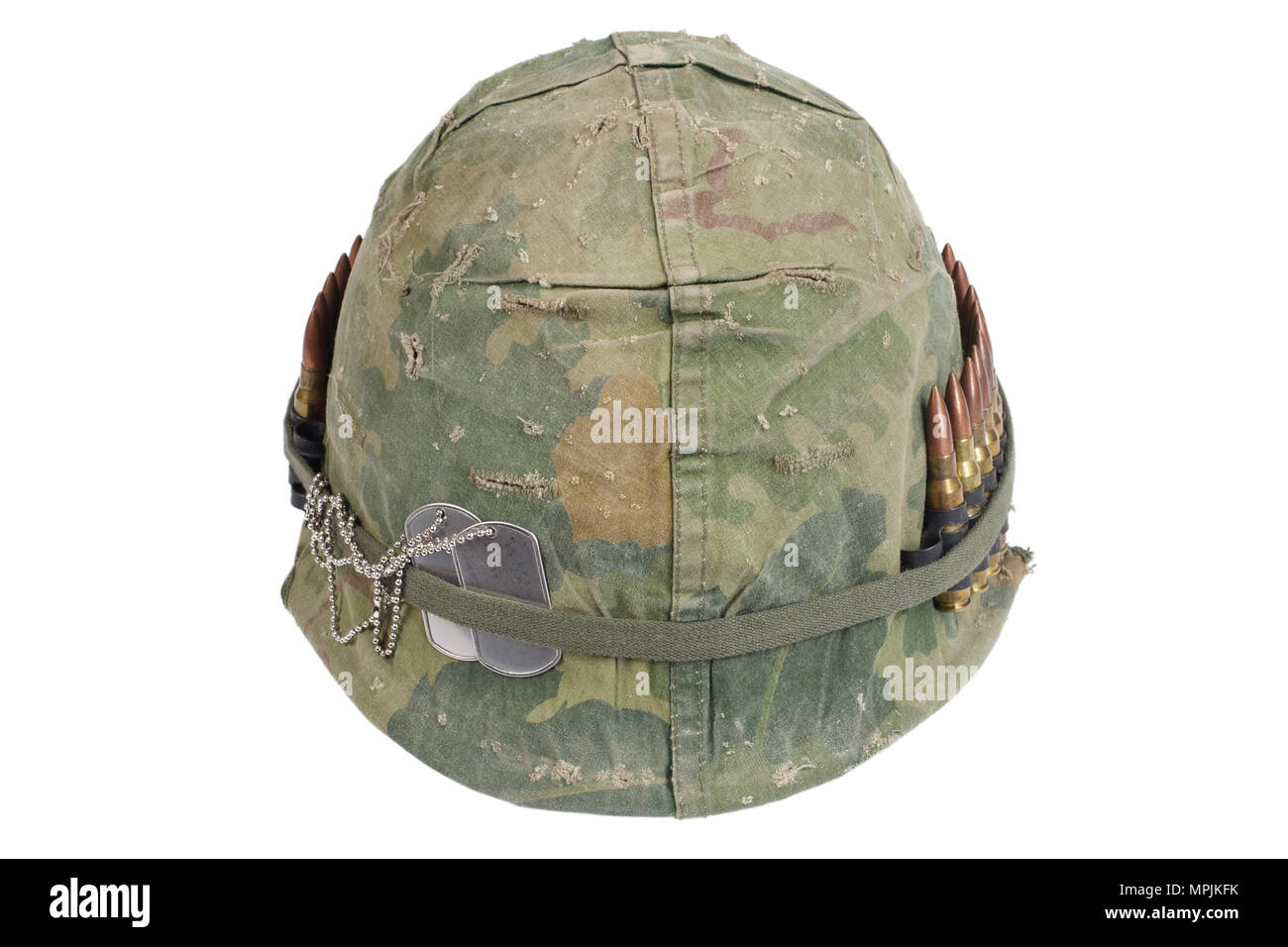 4b4d6903 US Army helmet with camouflage cover and ammo belt and dog tags - Vietnam  war period