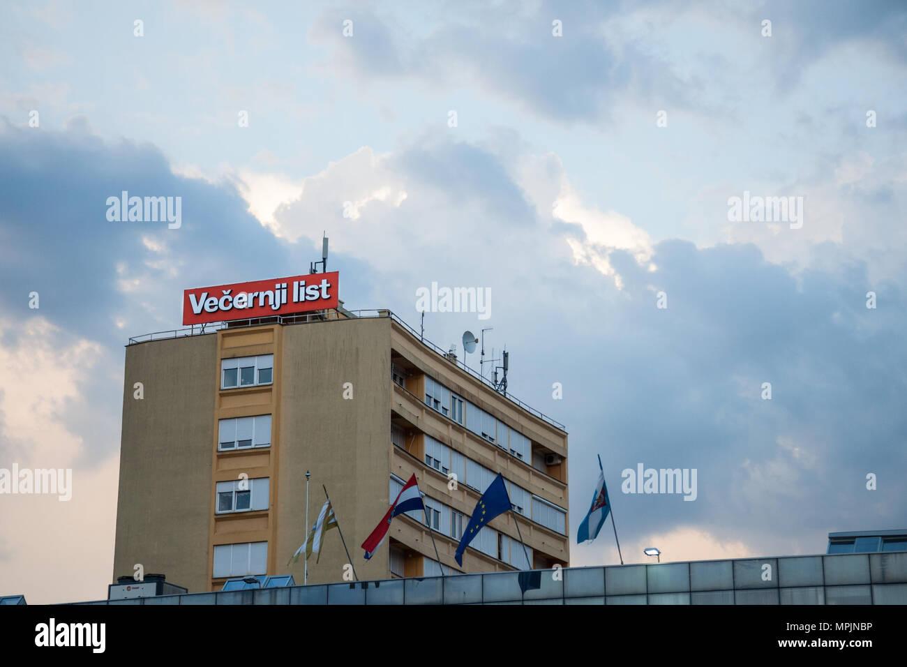 VUKOVAR, CROATIA - MAY 12, 2018: Vecernji List Logo on their local office in Vukovar. Vecernji list, formerly Vecernji Vjesnik, is the main conservati - Stock Image