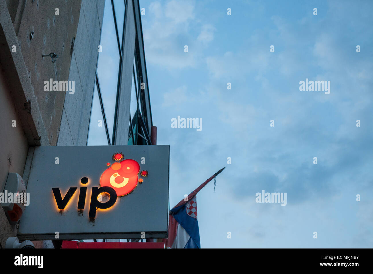 VUKOVAR, CROATIA - MAY 12, 2018: Vipnet Logo on their main shop in Vukovar. Vip Mobile, or Vipnet, is one of the main mobile network operator in Croat - Stock Image