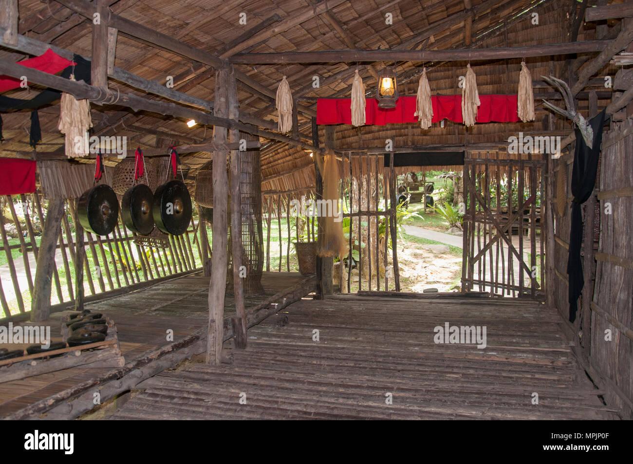 Interior of a Rungus Longhouse at the Mari Mari Cultural Village, Kota Kinabalu, Sabah, Malaysian Borneo - Stock Image