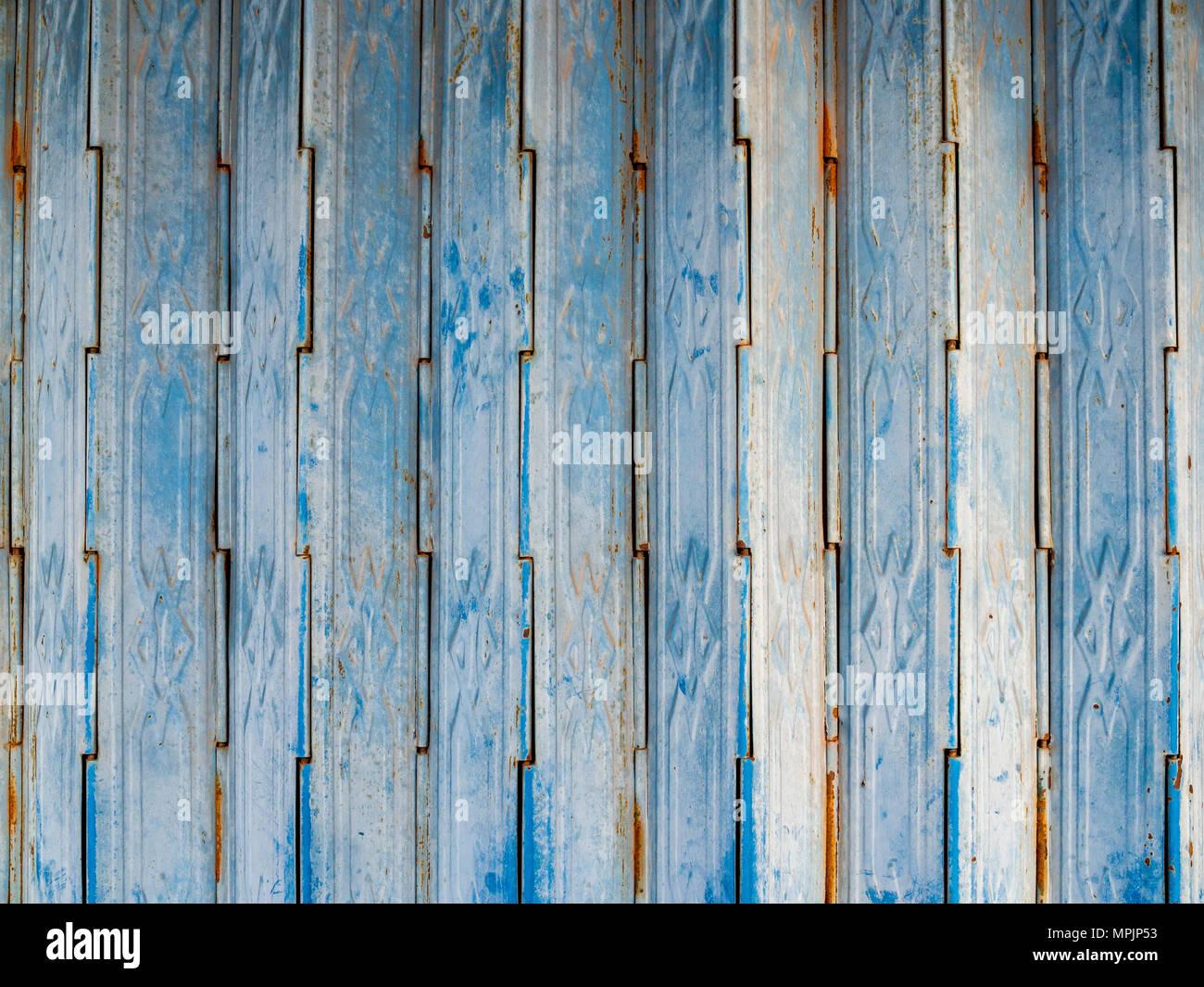 Vintage Blue Metal Folding Door Texture Pattern Background, Asian ...