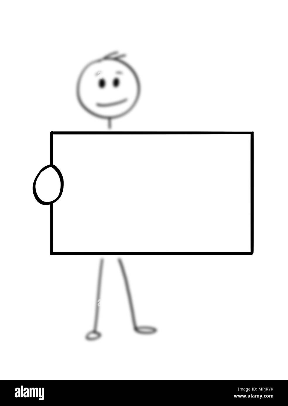 cartoon of man or businessman holding empty or blank business card
