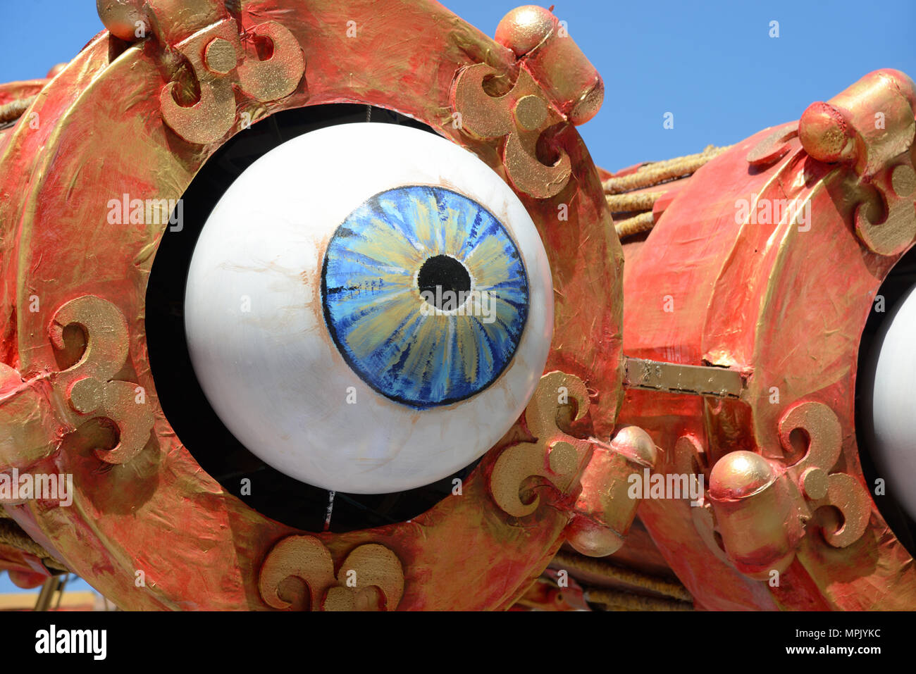 Giant Blue Eye or Eyeball on  Carnival Float During the Annual Spring Carnival Aix-en-Provence Provence France - Stock Image