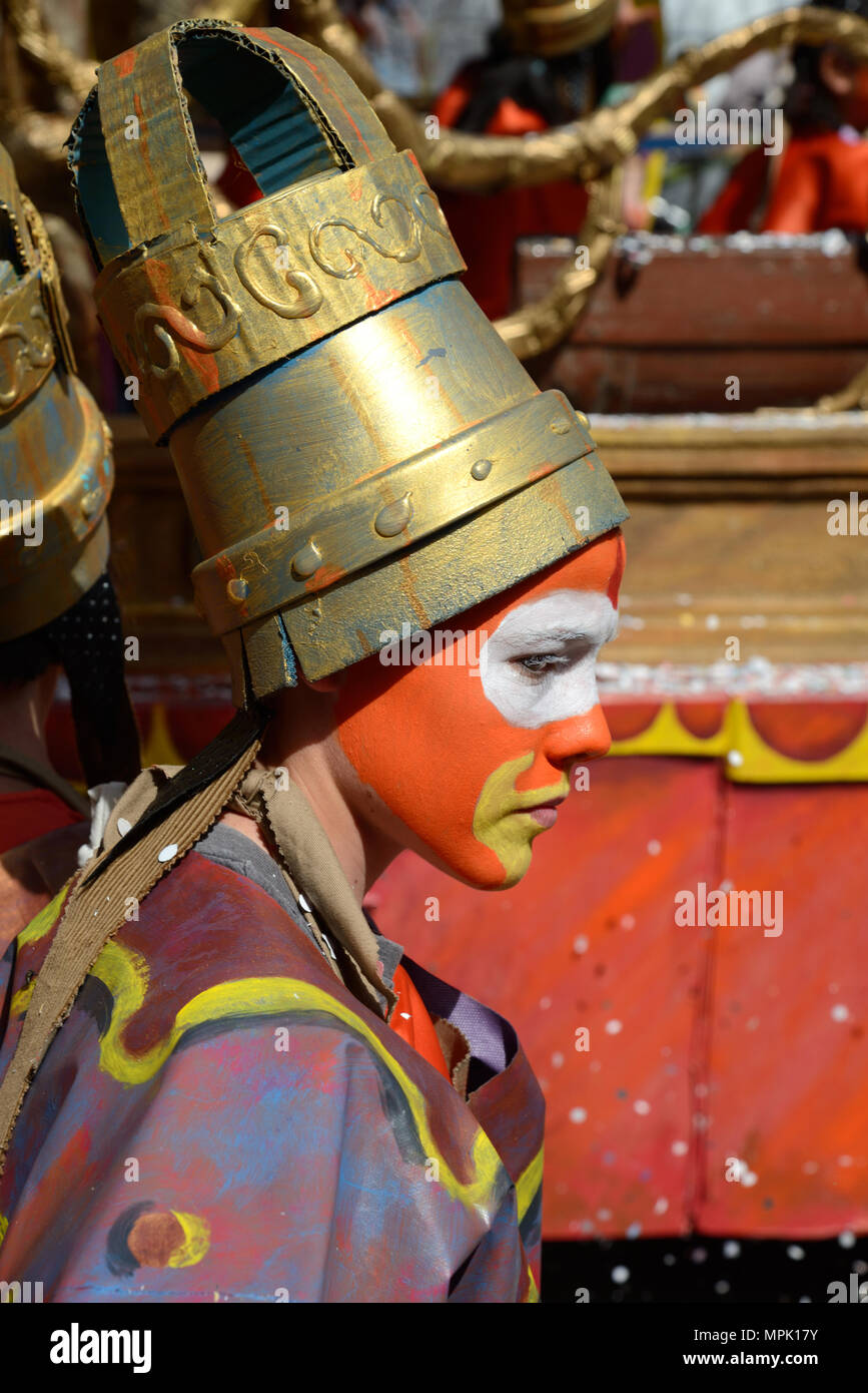 Costumed Festival Goers with Make-Up Face Paint at the Annual Spring Carnival Aix-en-Provence Provence France - Stock Image