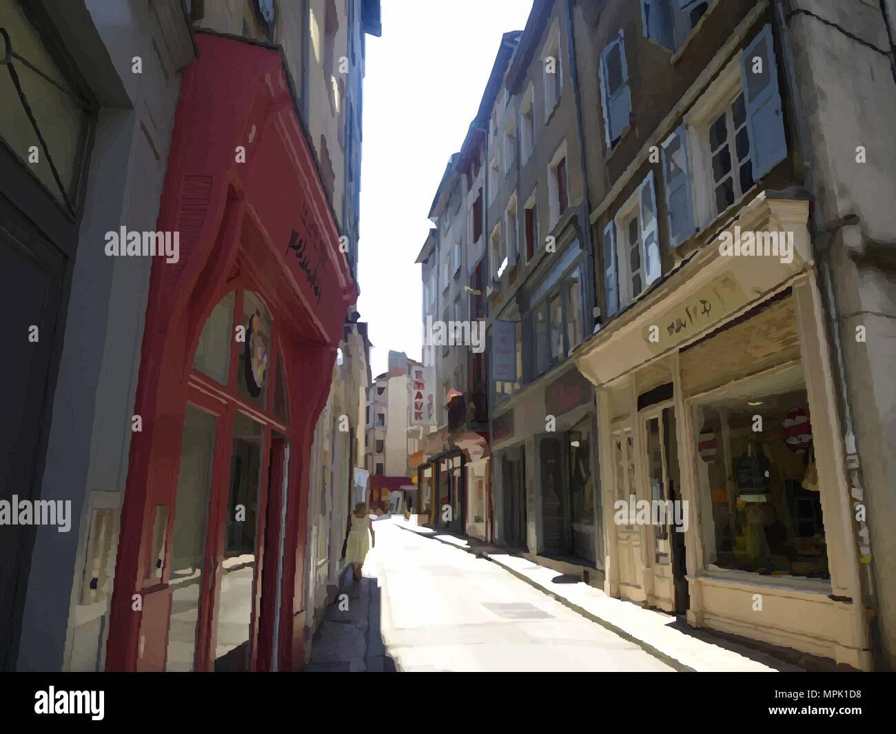 Side Street in Limoges, France. - Stock Image
