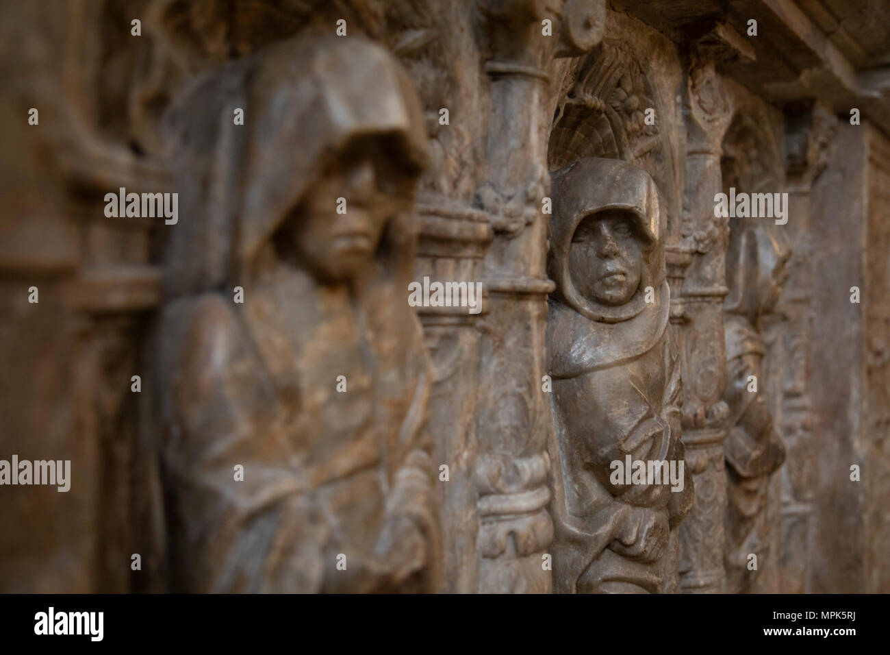 Interior stone carvings in Narbonne Cathedral in Narbonne, France ...