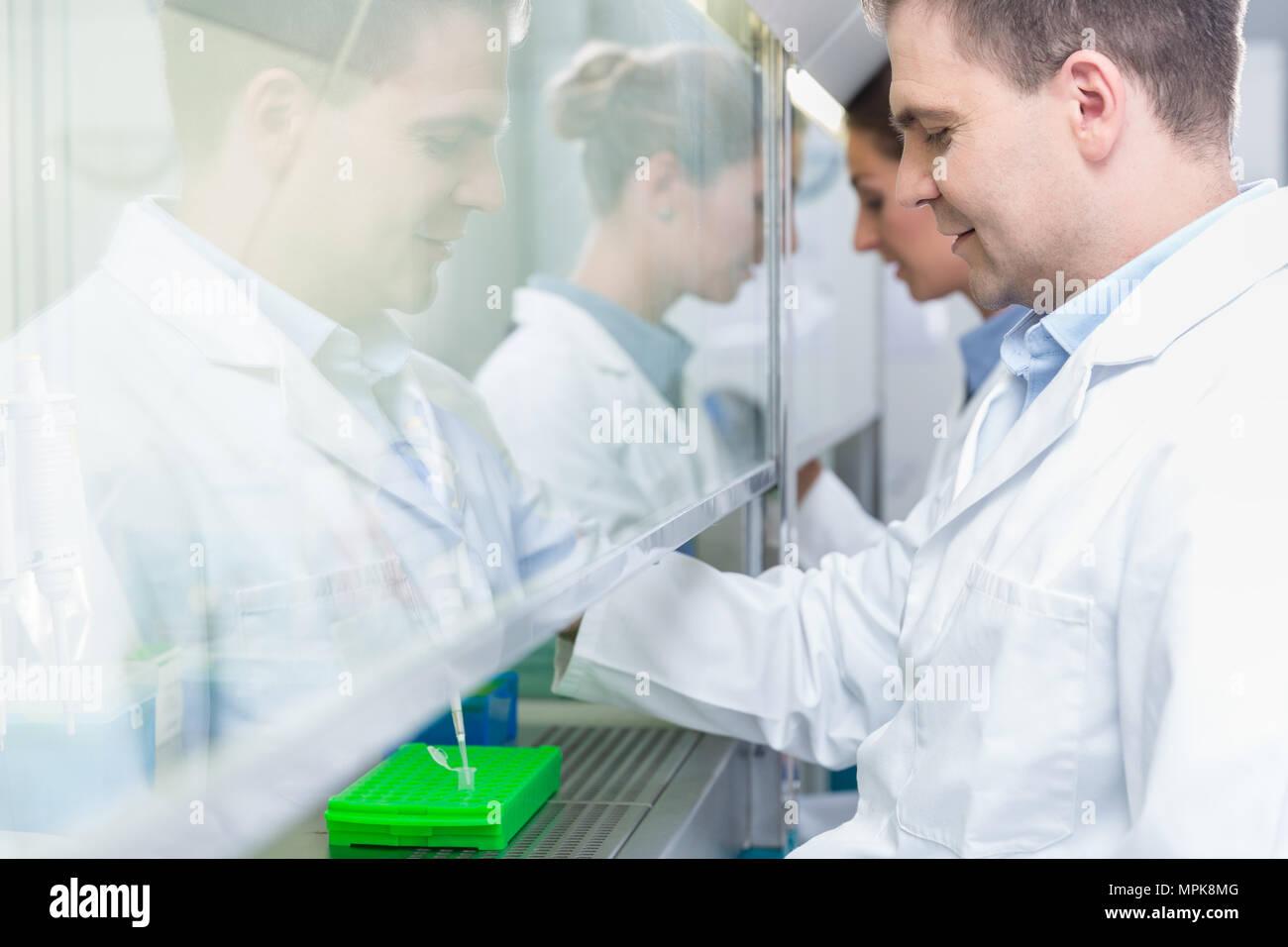 Researchers in science lab preparing samples  - Stock Image