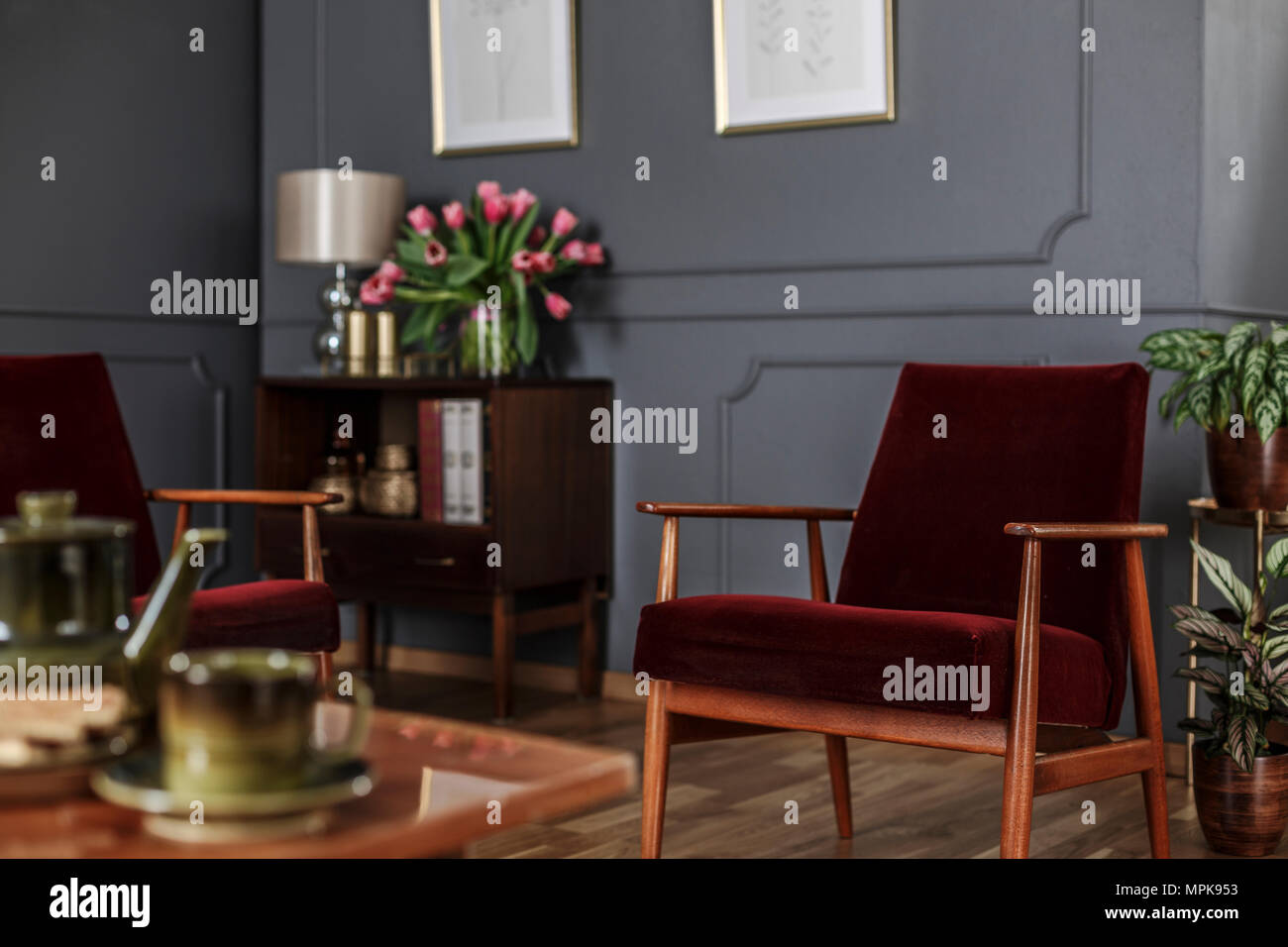 Close Up Of A Red Velvet Armchair Standing In A Blurred Interior Of A Dark Living Room With Wooden Furniture And Molding On The Gray Walls Real Phot Stock Photo Alamy