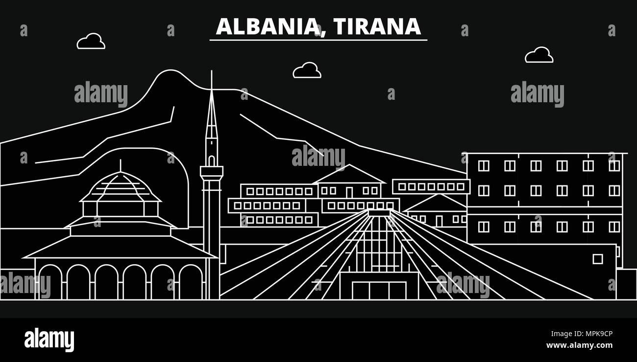 Tirana silhouette skyline. Albania - Tirana vector city, albanian linear architecture, buildings. Tirana travel illustration, outline landmarks. Albania flat icon, albanian line banner - Stock Vector