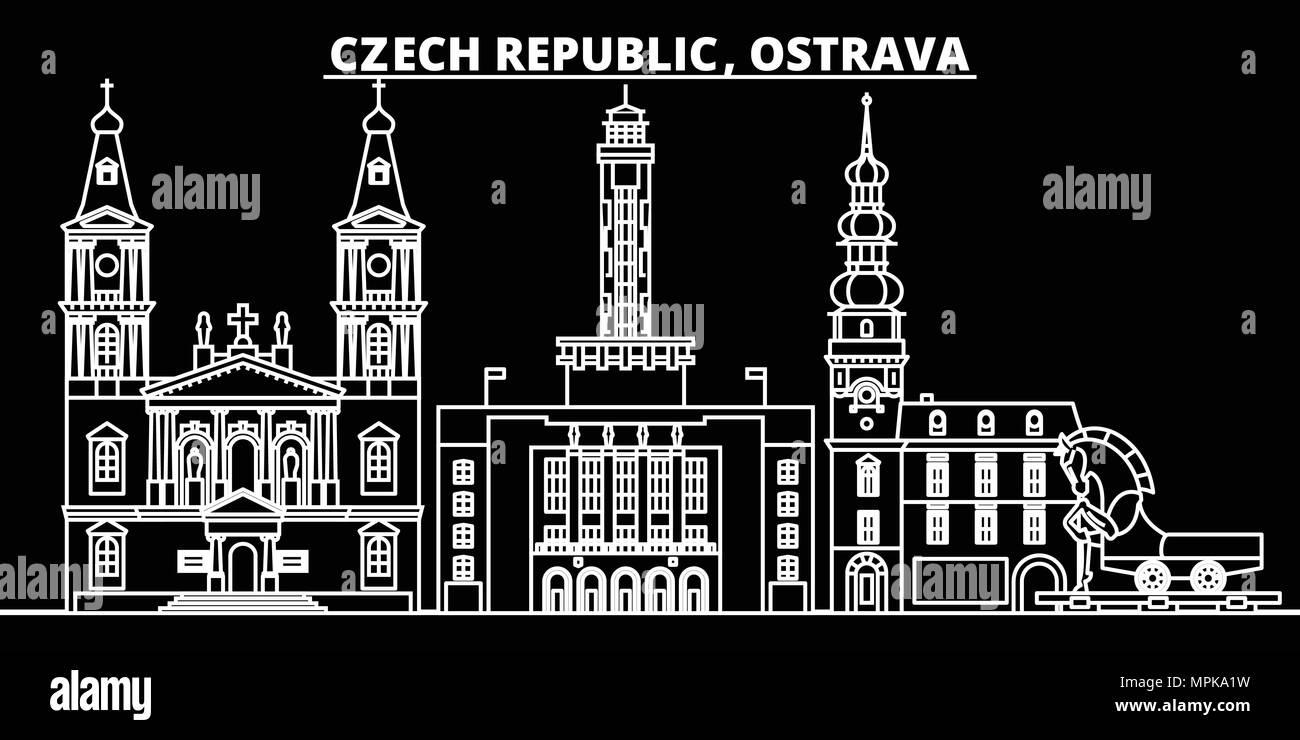 Ostrava silhouette skyline. Czech Republic - Ostrava vector city, czech linear architecture, buildings. Ostrava travel illustration, outline landmarks. Czech Republic flat icon, czech line banner - Stock Image