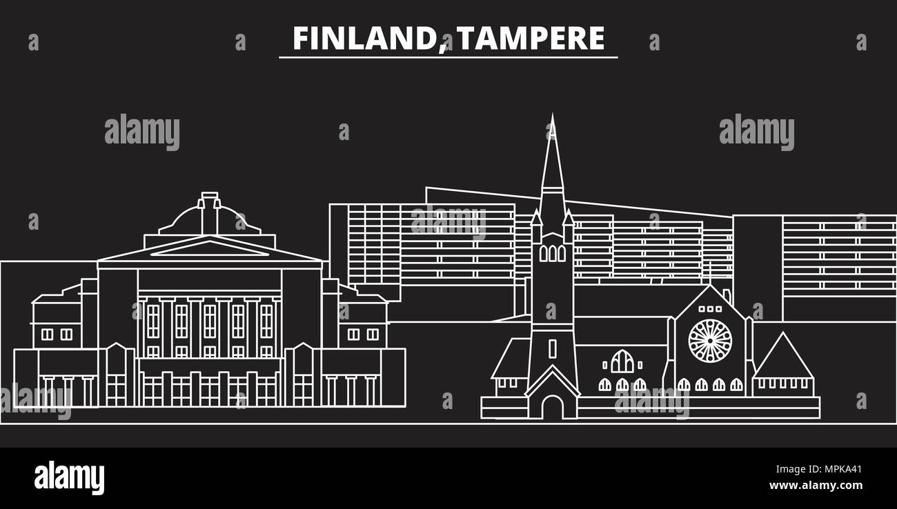 Tampere silhouette skyline. Finland - Tampere vector city, finnish linear architecture, buildings. Tampere travel illustration, outline landmarks. Finland flat icon, finnish line banner - Stock Vector