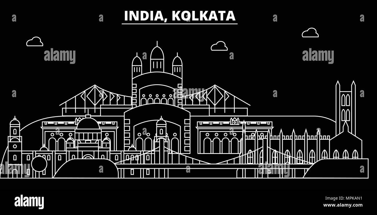 Kolkata silhouette skyline. India - Kolkata vector city, indian linear architecture, buildings. Kolkata travel illustration, outline landmarks. India flat icon, indian line banner - Stock Vector