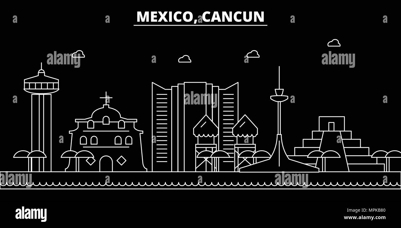 Cancun Silhouette Skyline Mexico Cancun Vector City Mexican