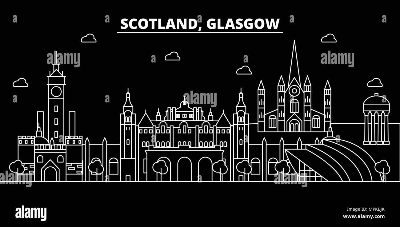 2ea0277f035a Glasgow silhouette skyline. Scotland - Glasgow vector city