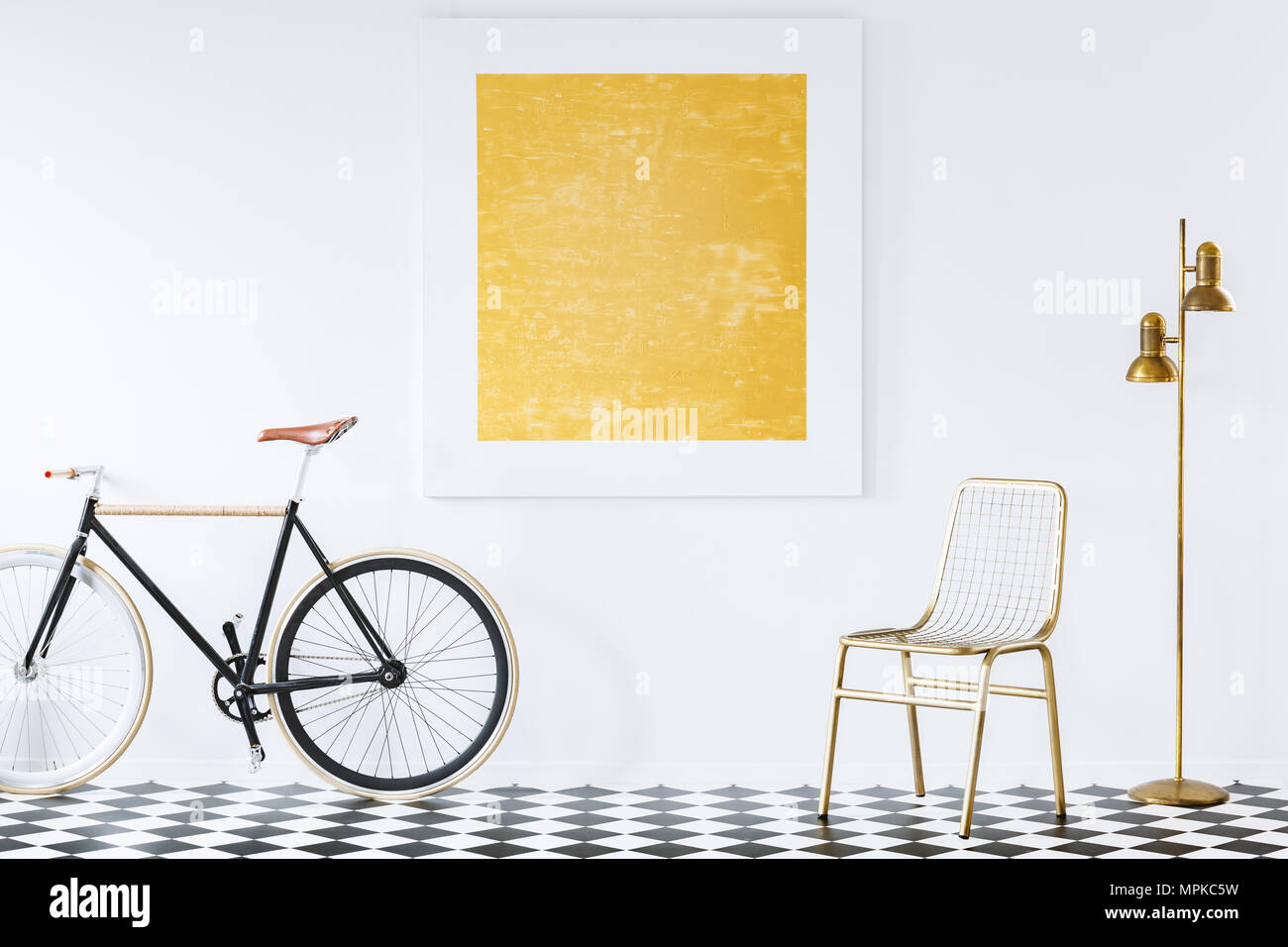 Old-fashioned bike in a minimalist, hipster living room interior ...