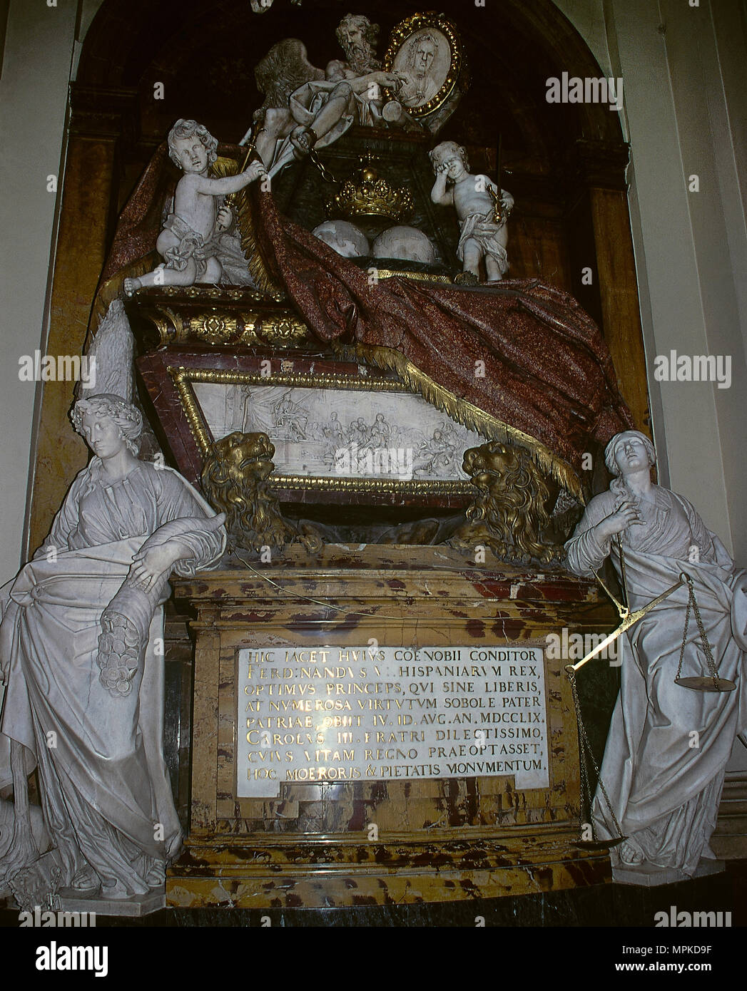Sepulcher of Ferdinand VI of Spain (Madrid, 1713-Villaviciosa de Odon, 1759). Third ruler of the Spanish Bourbon dinasty. Sculptural work designed by the architect Francesco Sabatini (1722-1797) and sculpted by Francisco Gutierrez Arribas (1727-1782). Convent of the Salesas Reales (Visitation of Our Lady). Madrid, Spain. - Stock Image