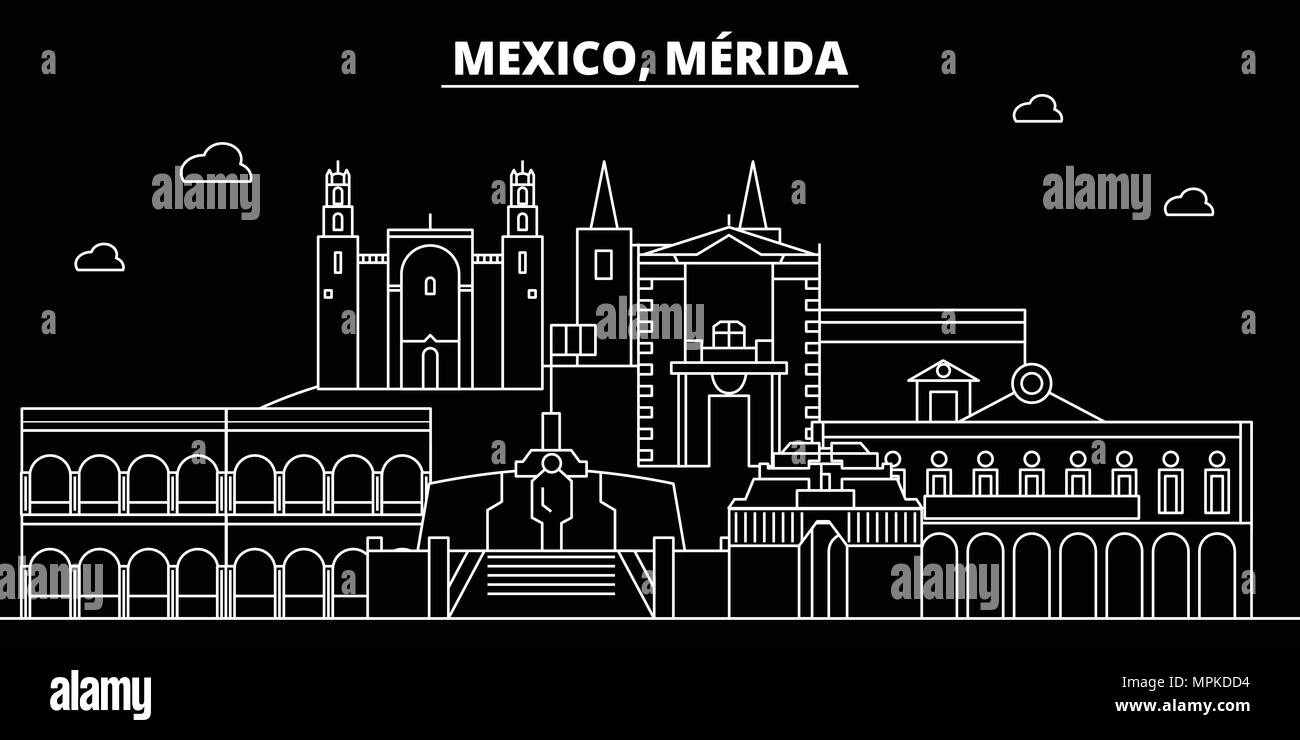Merida silhouette skyline. Mexico - Merida vector city, mexican linear architecture, buildings. Merida line travel illustration, landmarks. Mexico flat icons, mexican outline design banner Stock Vector
