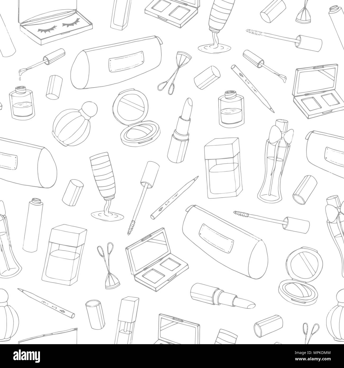 69f6640adec Vector cosmetics seamless pattern with bottles, lacquer, lipstick, eye  shadows, mascara and