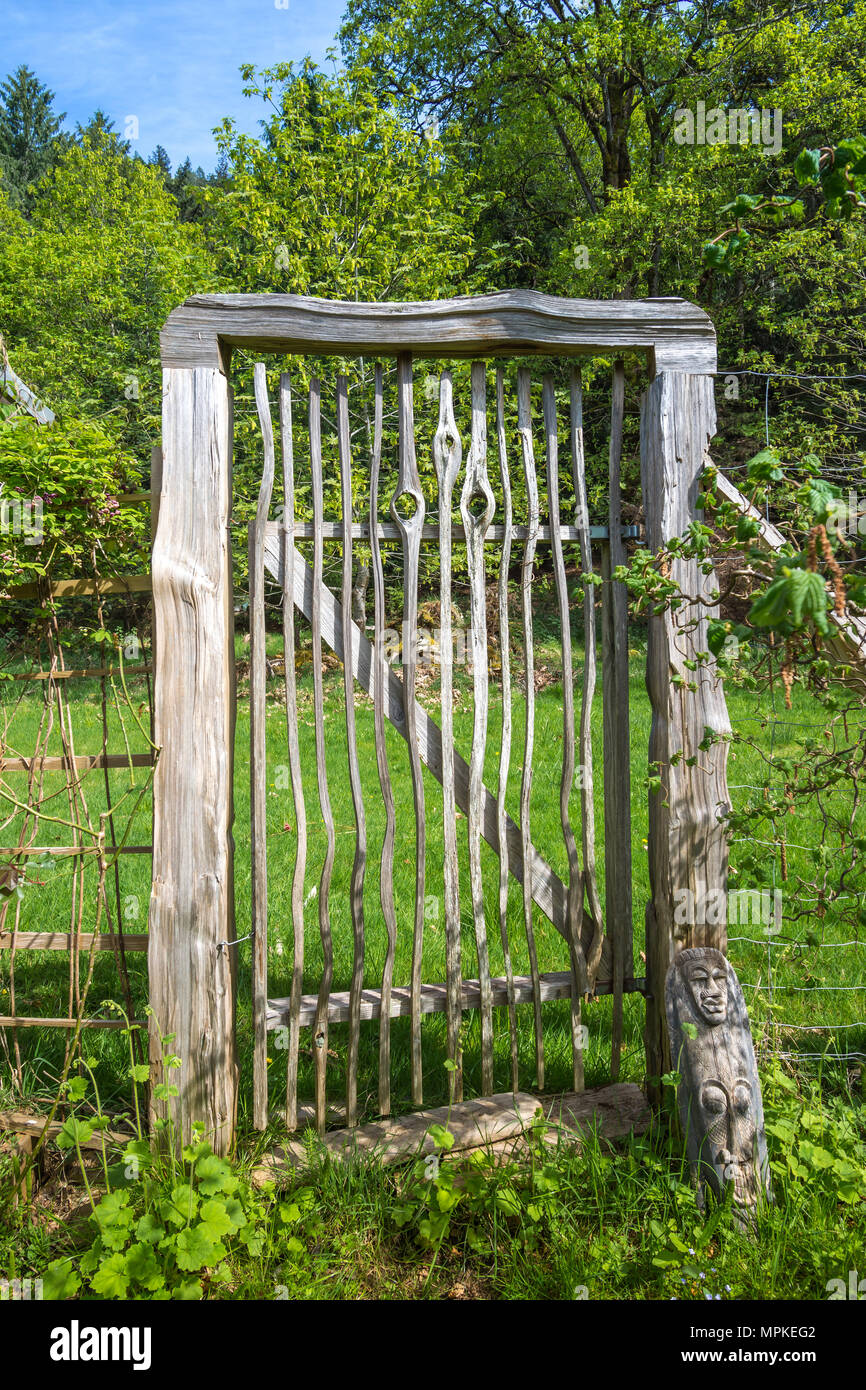 Rustic Garden Gate Made From Split Timbers   Hornby Island, BC, Canada