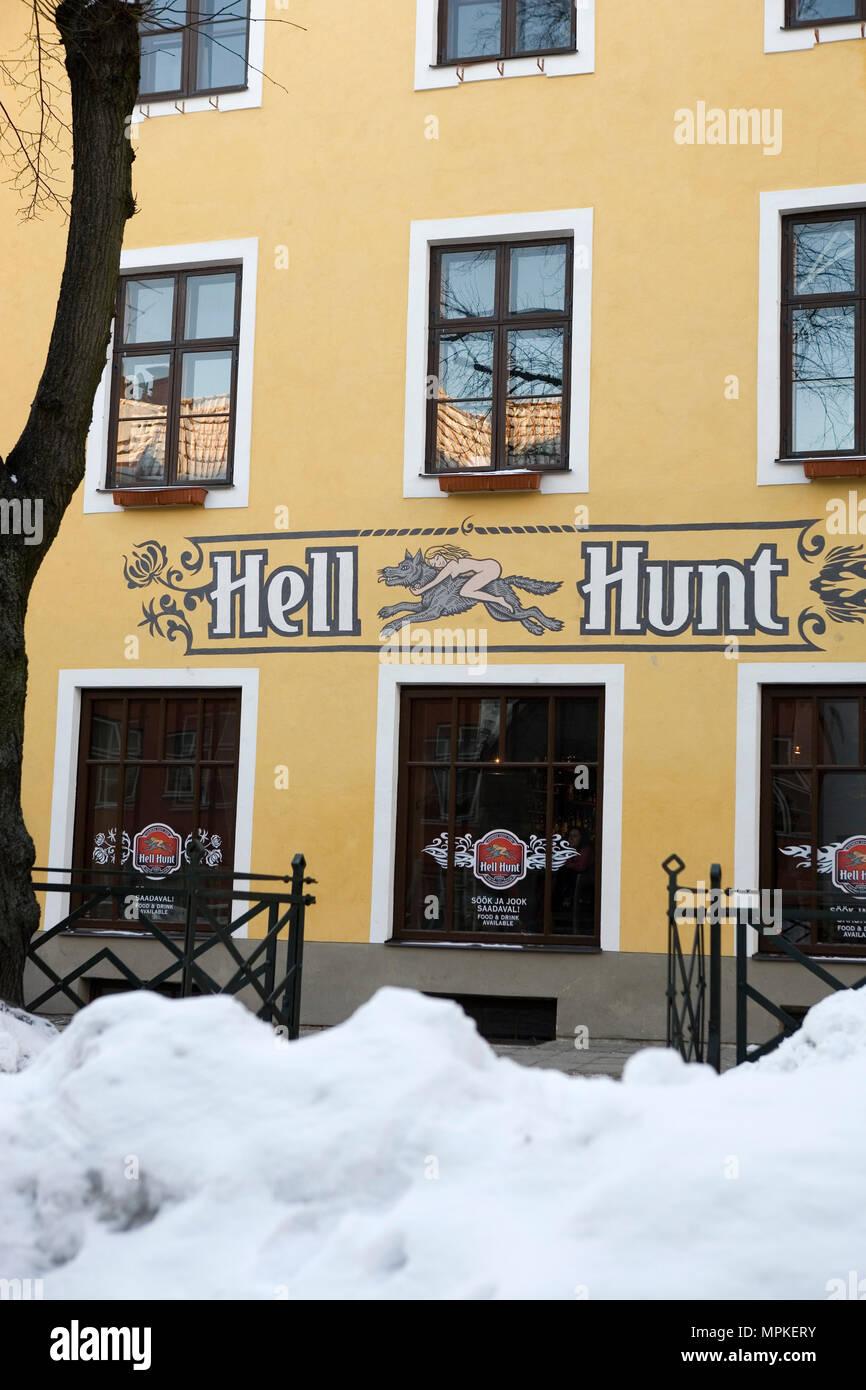 Pub called Hell Hunt (Gentle Wolf) on Pikk, All-linn, Tallinn, Estonia - Stock Image