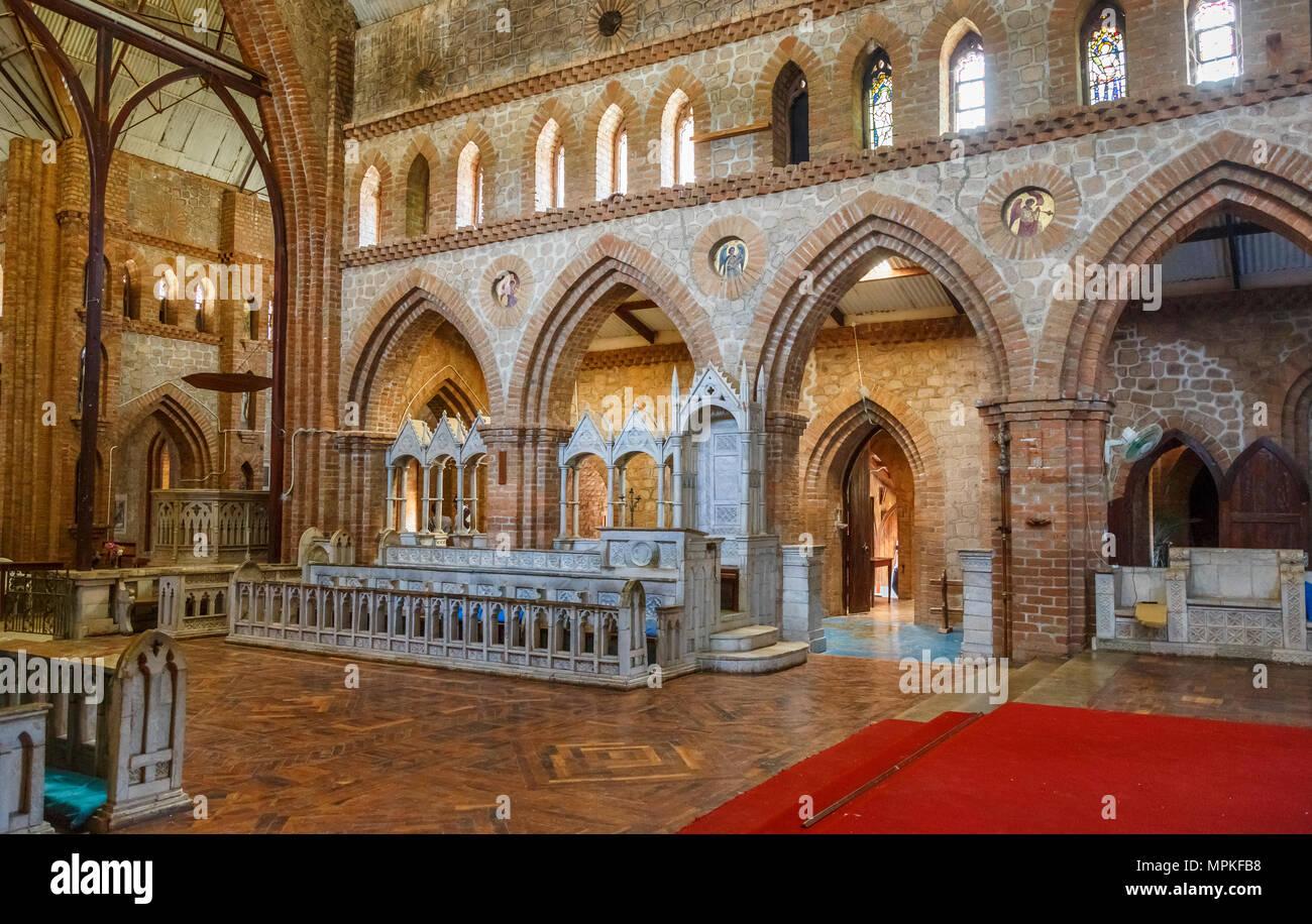 Interior of iconic Anglican St Peter's Cathedral, Chipyela (Mbamba), Likoma Island, Lake Malawi, Malawi, south-east Africa - Stock Image